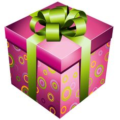 Pink Gift Box with Green Bow PNG Picture