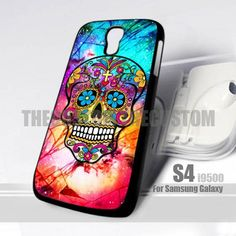 Sugar Skull  Colorful Crackout S4 Design for Samsung Galaxy S4