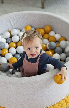 Mini Be Ball Pit - Mustard/Grey - The Modern Nursery Contemporary Nursery Decor, Nursery Modern, Interior Design Themes, Playroom Storage, First Birthday Gifts, Pregnancy Pillow, Victorian Dolls, Nursery Inspiration, Latest Colour