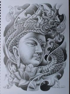 Buddha Tattoo Design, Anchor Tattoo Design, Lion Tattoo Design, Buddha Tattoos, Tiger Face Tattoo, Lion Head Tattoos, Asian Tattoos, Black Ink Tattoos, Full Tattoo
