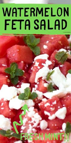 This Watermelon salad is made with fresh feta cheese and fresh mint for a side salad for the cook out. Salty sweet and refreshing watermelon feta salad. Serve for every backyard BBQ party or picnic. Cubes of watermelon tossed with fresh mint leaves and crumbled feta is perfect summer salad. It's colourful, healthy and easy to make. #saladrecipe #watermelon #cookout #bbq Easy Appetizer Recipes, Easy Salad Recipes, Real Food Recipes, Snack Recipes, Yummy Food, Cookbook Recipes, Yummy Recipes, Soup Recipes, Cooking Recipes