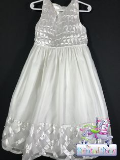 American Princess pearl-embroidered white dress, size 5, $21.99