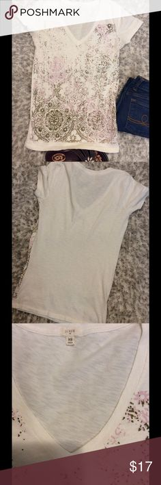 J Crew cotton VNeck Tee Size is XS.  Pink and slightly metallic taupe accents give it a very earthy appearance.  Material is in great shape. Bust measurement as shown J. Crew Tops