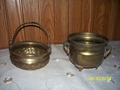 Vintage Brass candy dish set Movable Handle by NAESBARGAINBASEMENT