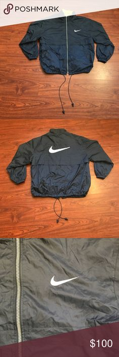 Vintage Nike Jacket (Made in USA) RARE Super Rare Vintage Nike jacket with rare Made in USA grey tag, you won't see these often Made in the late 1980s before Nike began to make clothing items in Asia. Jacket has double Nike logos one embroidered on the front and another Huge one embroidered on the back, has fleece on the inner collar and cotton lining on the inside also has cinch waist. Jacket is in Great condition no rips, stains or any other imperfections. Can be worn through all seasons…