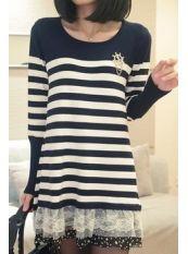Korean Style Stripe Lace Spot Leaf Knit Dress Deep Blue US$ 14.75 http://www.global-wholesale.net/Korean-Style-Stripe-Lace-Spot-Leaf-Knit-Dress-Deep-Blue_g33155.html