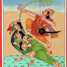 Hindu God Of Sexual Love Kamadeva Parrot Woman Kamasutra Folk Art Painting India Miniature Artwork by A K Mundra History Of India, Art History, Indian Gods, Indian Art, Archangel Michael, Hindu Deities, Traditional Art, Art Pictures, Folk Art