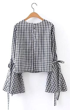 Trendy-Road-Style-Shop-Online-Woman-Fashion-Street-blouse-sweet-flower-embroidery-flare-sleeve-checkered