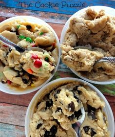 The Cookie Puzzle: Eggless Cookie Dough (3 ways)   SOOOO GOOD and incredibly easy. You could switch it up and use peanut butter or butterscotch chips :)