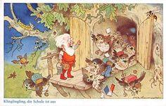 Alte AK col. Künstlerkarte Fritz Baumgarten / Klingelingeling die Schule ist aus | eBay