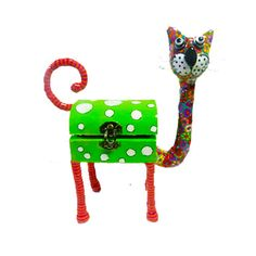 Cat sculpture box   animal Collectibles  whimsical  by MIRAKRIS, $59.00