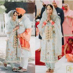 I adore the idea of bridal Salwar kameez Sikh Wedding Dress, Punjabi Wedding Suit, Punjabi Wedding Couple, Punjabi Bride, Wedding Suits, Bridal Dresses, Wedding Couples, Punjabi Couple, Wedding Ideas