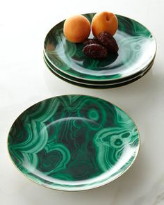 Four Malachite Dessert Plates by L\'Objet at Neiman Marcus.