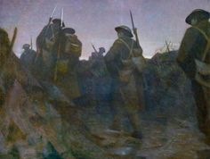 'Relief at Dawn' by war artist CRW Nevinson. British soldiers wearing full kit walk through a trench at dawn. World War One, First World, Ww1 Art, Focke Wulf, English Artists, Art Uk, Military Art, Your Paintings, Illustration Art