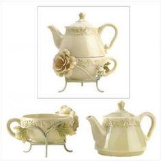 Amazon.com: Ceramic Victorian Peony Tea For One Set Teapot Cup Mug: Sports & Outdoors