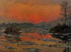 Sunset on the Seine in Winter Claude Monet art for sale at Toperfect gallery. Buy the Sunset on the Seine in Winter Claude Monet oil painting in Factory Price. Claude Monet, Post Impressionism, Impressionist Paintings, Monet Paintings, Landscape Paintings, Artist Monet, Art Japonais, Pierre Auguste Renoir, Camille Pissarro