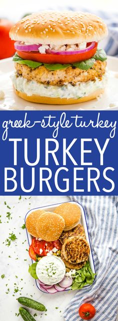 These Greek-Style Turkey Burgers are a delicious healthy alternative to traditional hamburgers, with a Greek twist! The perfect juicy turkey burger patty with herbs, sun-dried tomatoes and feta cheese! Use my Pro Tips for the perfect homemade turkey burgers every time! Recipe from thebusybaker.ca! #burgers #turkeyburgers #perfectturkeyburgers #burgertutorial #Greekburgers #summer #grilling #healthygrilling #healthy #lowfat via @busybakerblog Burger Recipes, Pork Recipes, Lunch Recipes, Easy Dinner Recipes, Chicken Recipes, Easy Meals, Summer Grilling Recipes, Healthy Grilling, Healthy Food