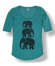 This Heather Turquoise Elephant Stack Scoop Neck Tee by Sharp Wit is perfect! #zulilyfinds