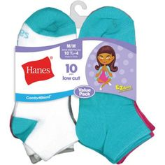 Hanes Girls Low Cut Socks - 10 Pack, Size: Large, Assorted