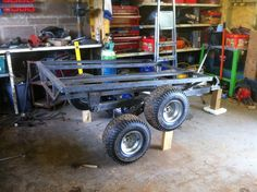 After a year or so of research, I've finally started my atv trailer build.  Tandem walking axles, possibly multi-body, tipping trailer. Five feet...