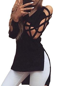 IF FEEL Women'S V Neck pullover sweater Side Slit Crisscr…