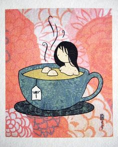Tea Girl color print on watercolor paper by stasiab on Etsy, $20.00