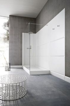 Rectangular Corian® #shower tray WARP by Rexa Design | #design Carlo Dal Bianco #minimal #white @Rexa Design
