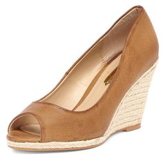 Tan espadrille peep mid wedge - View All New In - What's New - Dorothy Perkins