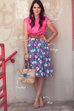 pink top plus floral skirt