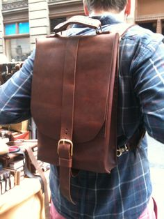 Hand stitched leather back pack rucksack by Aixa. $349.00, via Etsy.
