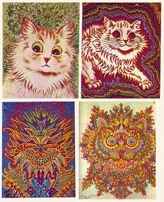 """Louis Wain (5 August 1860 – 4 July 1939) was an English artist best known for his drawings, which consistently featured anthropomorphised large-eyed cats and kittens. In his later years he suffered from schizophrenia, which, according to some psychologists, can be seen in his works."" Very interesting to follow. Creativity and one's state of mind."