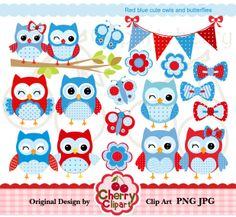 Red Blue cute owls and butterflies digital by Cherryclipart, $5.00