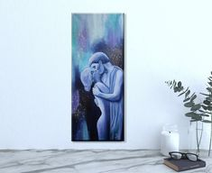 Original Painting In Your Arms 20 x 50 cm, Kiss Picture, Kiss Painting, Love Couple Painting Kiss Painting, Couple Painting, Kiss Pictures, Love Couple, Canvas Size, Modern Art, Original Paintings, Abstract Art, Hand Painted