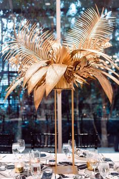 Modern Parker Palm Springs Wedding Gold Ceremony Centerpieces Resident Name: AventuraEvent Name: Aventura: InmortalDate: Location: Houston, TXEvent Venue: Toyota Center - TX Unique Wedding Centerpieces, Wedding Flower Arrangements, Flower Centerpieces, Unique Wedding Themes, Art Deco Wedding Flowers, Art Deco Wedding Decor, Art Deco Party, Gold Wedding Decorations, Art Deco Centerpiece