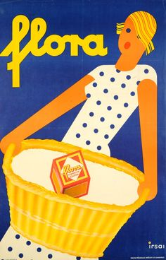 vintage advertising poster — Flora washing powder / by Irsai István