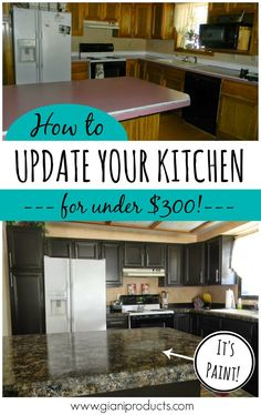 Kitchen update on a budget! Countertop paint that looks like granite and one-day cabinet makeover. #DIY