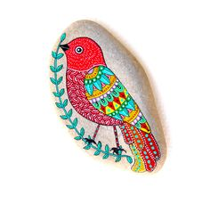 Hand Painted Stone Bird with mandala wing by ISassiDellAdriatico