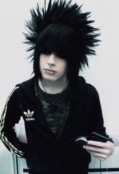 emo boy - long hair man - bangs