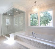 The Tile Shop: marble and glass stria shower and tub face