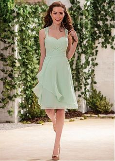 Buy discount Alluring Lace & Chiffon Sweetheart Neckline Knee-length A-line Bridesmaid Dresses at Dressilyme.com