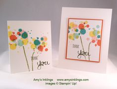 2014  Gorgeous Grunge Clear Stamp Set130517 Price: $17.95  Too Kind Clear Stamp Set130450 Price: $14.95  The finished size of the smaller card is 3-1/2 x 4-1/4.  Perfect for a quick thank you note. The larger card is the standard size of 4-1/4 x 5-1/2 and on that card I layered the art on Tangerine Tango cardstock and attached that to a Whisper White cardstock base with Stampin' Dimensionals.
