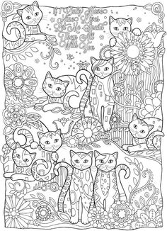 Desenhos para colorir para adultos gatos: