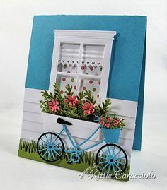 My project today is a fun window and bike scene using the Poppy Stamps Small Madison Window and the Brand New Bicycle from Memory Box. I created the half wall of siding on the card base, cut. Pretty Cards, Cute Cards, Diy Cards, Diy Flower Boxes, Flower Cards, Diy Flowers, Cricut Cards, Stampin Up Cards, Housewarming Card