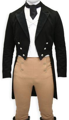 Regency Tailcoat, pantalon with buttons on both sides.