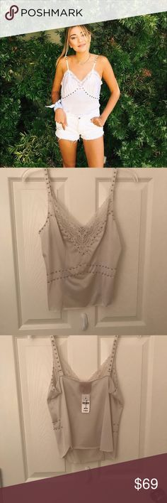 LF TANK TOP Super cute bedazzled lf tank top with lace trim! Never worn! NWT LF Tops Tank Tops