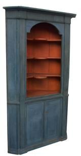 X99 18th Century, American Blue Painted Pine Corner Cupboard With Salmon  Painted Interior, With · Country FurnitureAntique ...
