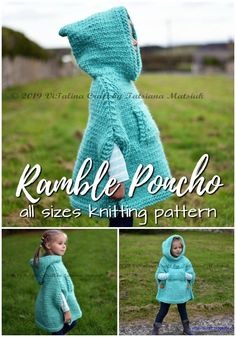Charming poncho knitting pattern in sizes infant to adult XL. Love this gorgeous hooded poncho! Perfect for fall! Knitting ProjectsKnitting HatCrochet PatronesCrochet Amigurumi Charming poncho knitting pattern in sizes infant to adult XL. Easy Knitting Projects, Knitting For Kids, Free Knitting, Diy Projects, Loom Knitting, Knitting Needles, Baby Poncho, Hooded Poncho, Poncho For Kids