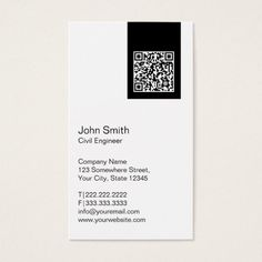 Shop Modern QR code Civil Engineer Business Card created by cardfactory. Personalize it with photos & text or purchase as is! Qr Code Business Card, Business Card Design, Name Card Design, Bussiness Card, Presentation Cards, Chemist, Civil Engineering, Name Cards, Design Reference