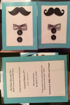 DIY mustache and bow tie baby shower invitations..!!! Keeping it classy and simple. Fast, easy and inexpressive to make (: