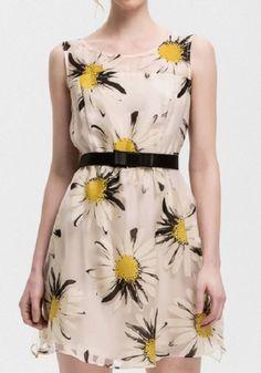 Yellow Floral Belt Sleeveless Mini Dress